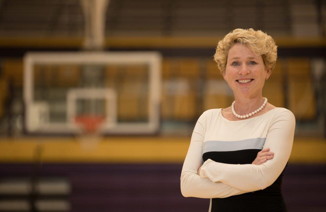 Chrissy Houlahan in Front Of Basketball Hoop